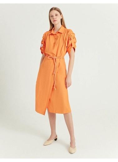 BGN Turuncu - Halat Kemerli Gömlek Elbise Oranj